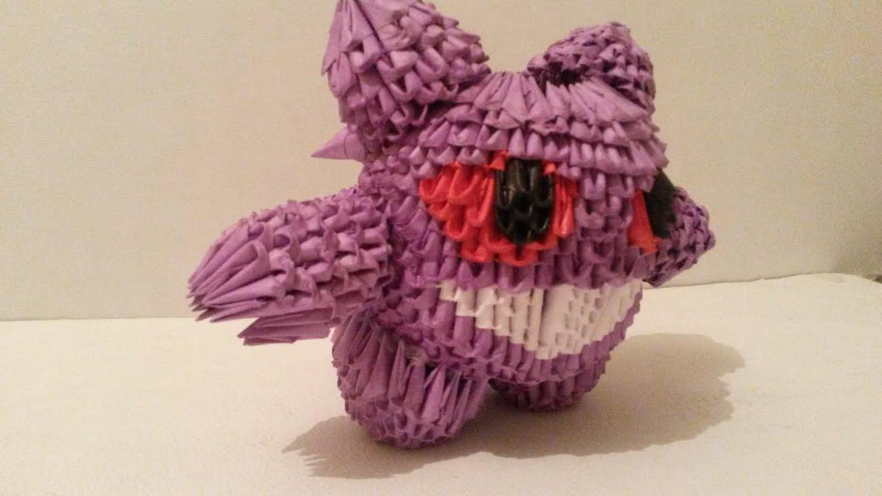 GENGAR (POKEMON FANTASMA ) DE ORIGAMI 3D - YouTube - photo#16