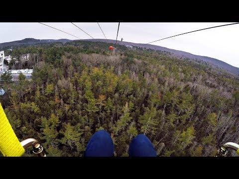 Riding the HighFlyer Zipline at Foxwoods