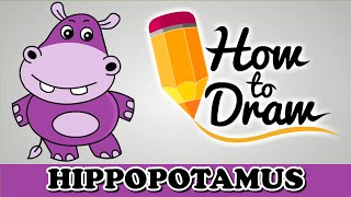 How To Draw A Hippopotamus - Easy Step By Step Cartoon Art Drawing Lesson Tutorial For Beginners
