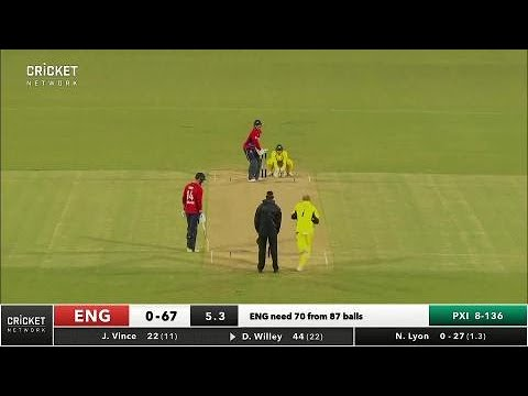 David Willey takes 34 from Nathan Lyon over