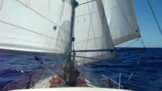 Tradewind sailing across the Atlantic