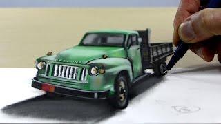 Bedford pickup truck, 3D Trick Art on Paper