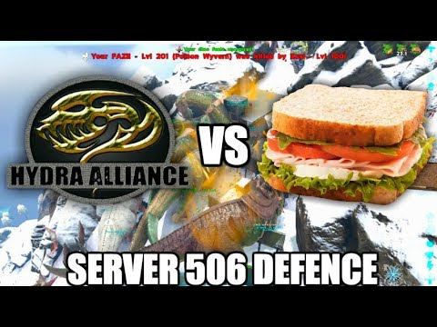 Hydra Defends Against Muck Sandwiches - Ark Official Server 506 Defence Raid (Christmas Video)