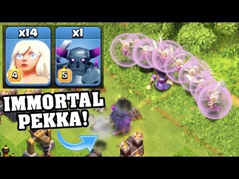 Clash Of Clans - THE IMMORTAL PEKKA vs EAGLE ARTILLERY!! - Max Pekka + All Healers 2016!