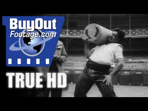 HD Historic Stock Footage HEAVY WEIGHT STONE LIFTING IN SPAIN 1957