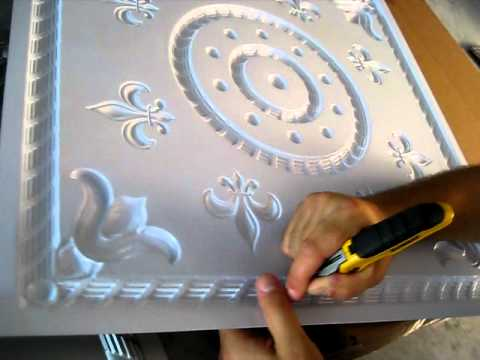 How To Cut Pvc Faux Tin Ceiling Tile For Grid Suspended Installation