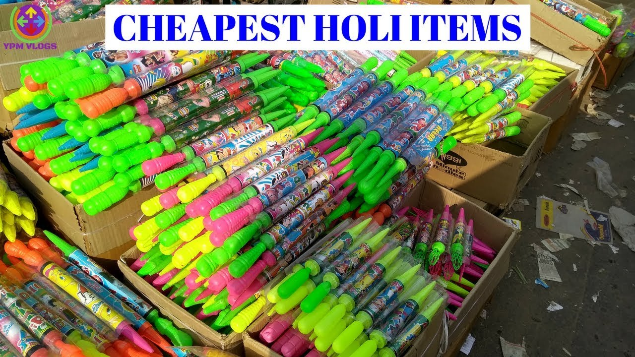 LOWEST PRICE HOLI MARKET | (WATER GUNS,WATER BALLOONS,GULAL) | WHOLESALE &  RETAIL | NEW DELHI |