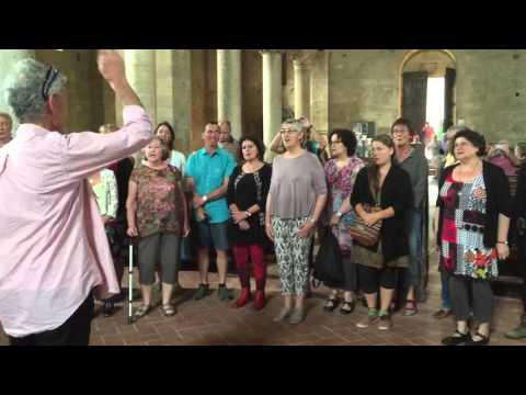 Singing in Sant' Antimo Abbey, Montalcino