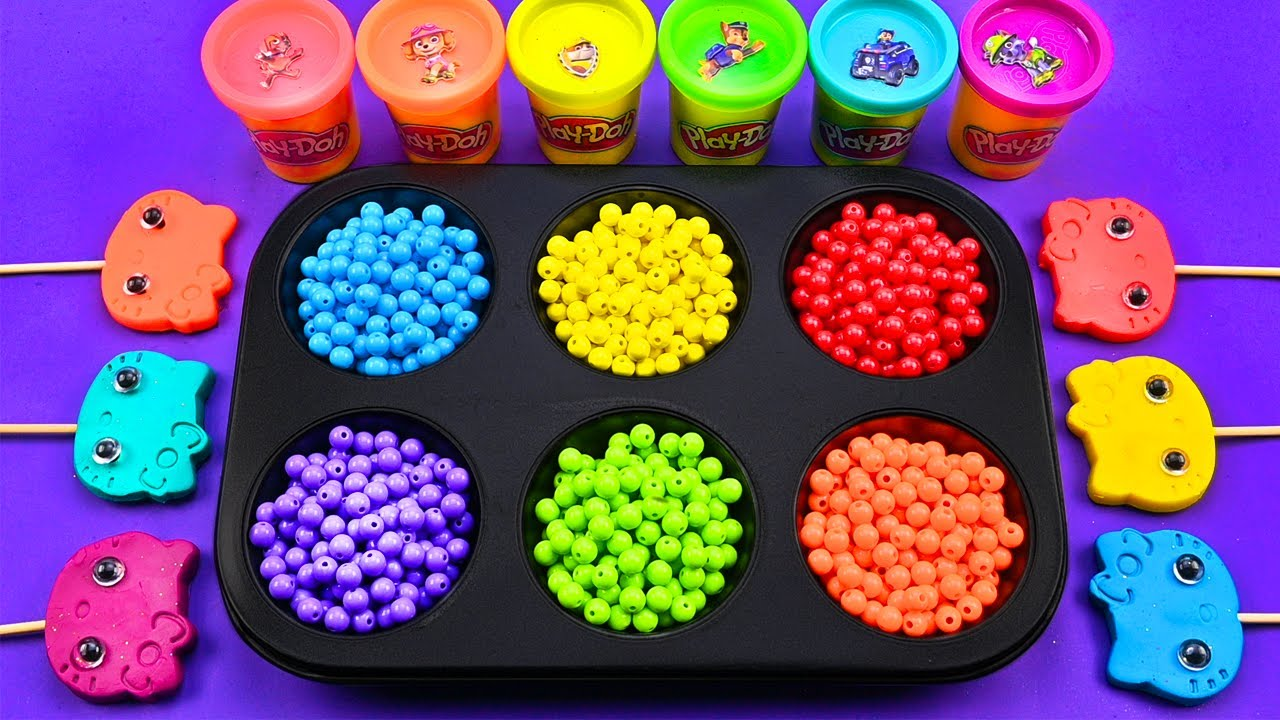 Satisfying Video l How To Make Playdoh Kitty Lollipop With Color Tray Beads Cutting ASMR #273