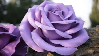 как сделать большую розу из фоамирана