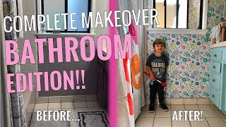 COMPLETE MAKEOVER: Bathroom Edition! Featuring Spoonflower