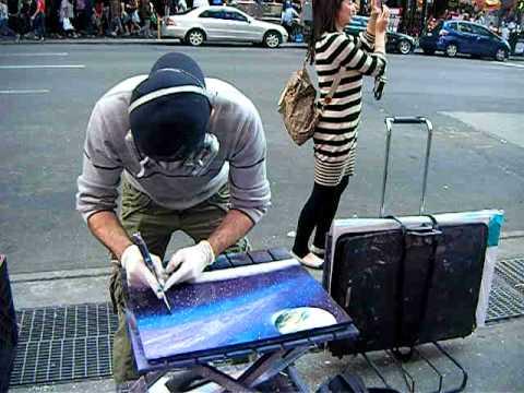 amazing spray paint art new york street vendor youtube. Black Bedroom Furniture Sets. Home Design Ideas