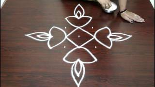 easy rangoli designs for diwali with 7 to 1 dots- deepam kolam  designs - muggulu designs