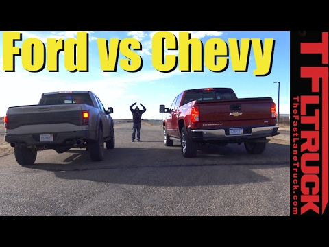 2017 Ford Raptor Vs Chevy Silverado 1500 6 2l Mashup Drag Race