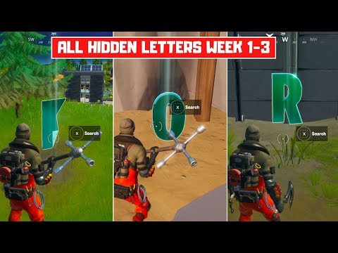 All Hidden Letters In Fortnite (Week 1-3)! Search Hidden Letters F-O-R! - Fortnite Chapter 2