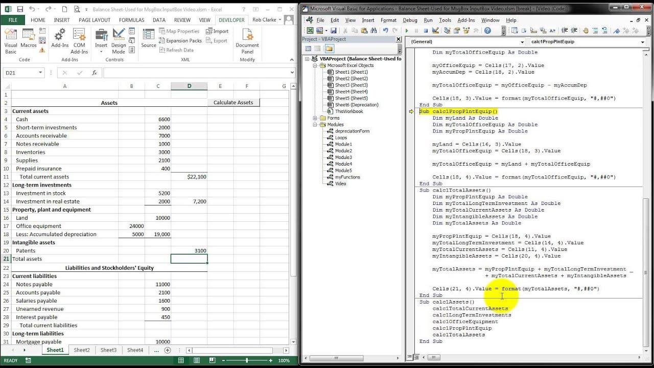 VBA Excel - MsgBox, InputBox, Worksheet Controls Class Work