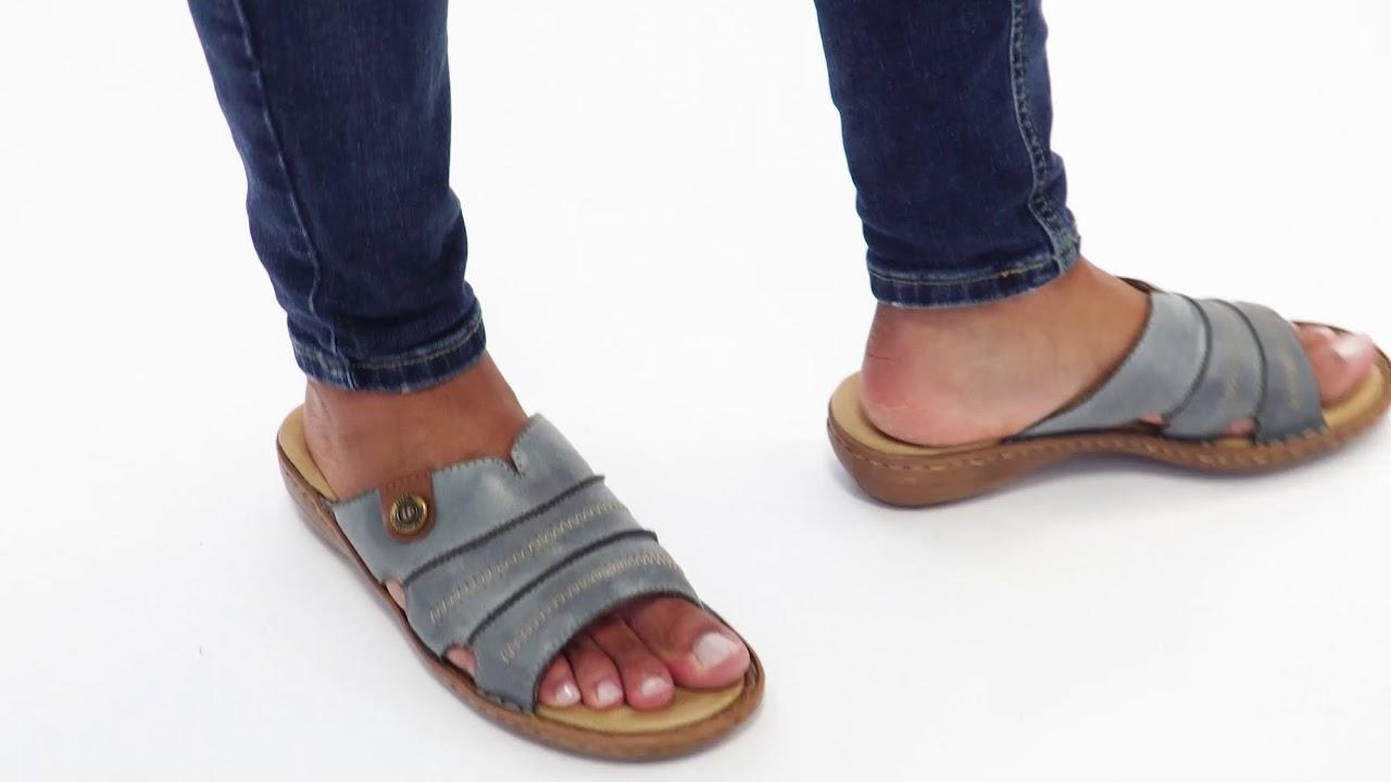 am modischsten UK Verfügbarkeit Waren des täglichen Bedarfs Shuperb™ Rieker 60876-12 Ladies Leather Slip-On Sandals Blue - YouTube