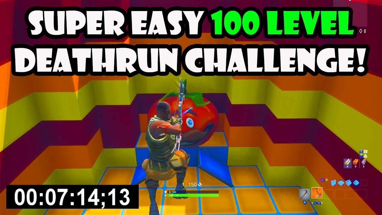 The Super Easy Default Deathrun With 100 Levels Fortnite Creative Youtube