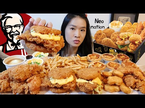 KFC ALL CHEESE FEAST 2!! Mac 'N Cheese Zinger, Crunchy Fried Chicken   Mukbang w/ Asmr Eating Sounds