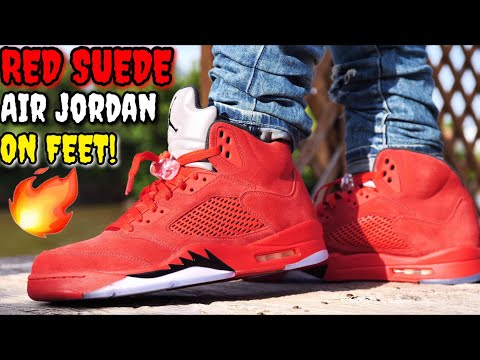 """UNIVERSITY RED"" SUEDE AIR JORDAN 5 ON FEET! THE HOTTEST JORDAN FOR THE SUMMER!?"