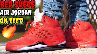 'UNIVERSITY RED' SUEDE AIR JORDAN 5 ON FEET! THE HOTTEST JORDAN FOR THE SUMMER!?