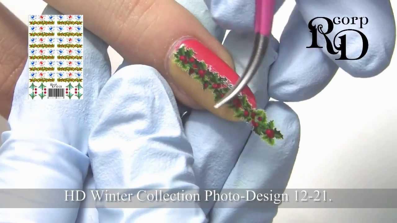 Christmas Holly Nail Art Youtube