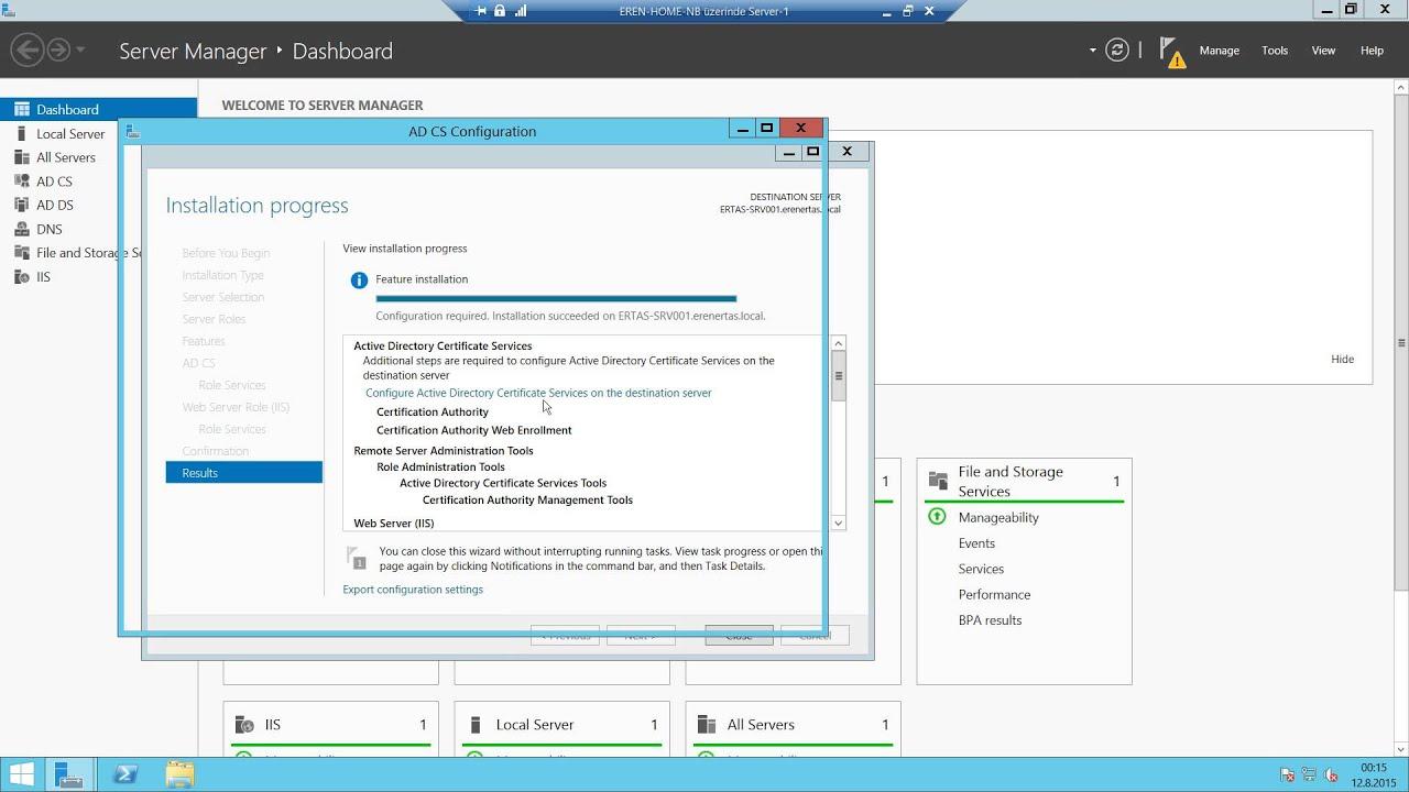 Windows Server 2012 R2 Certification Authority Ca Kurulumu Youtube