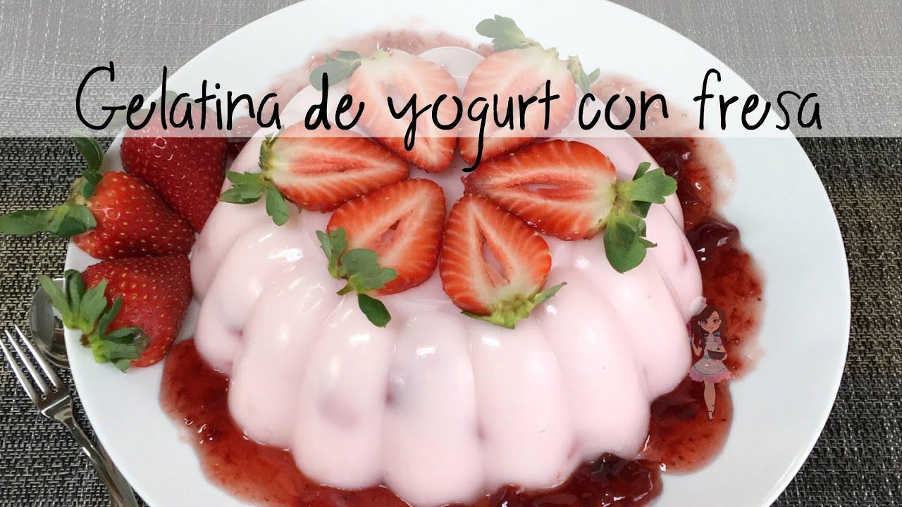 receta de gelatina de fresa y yogurt