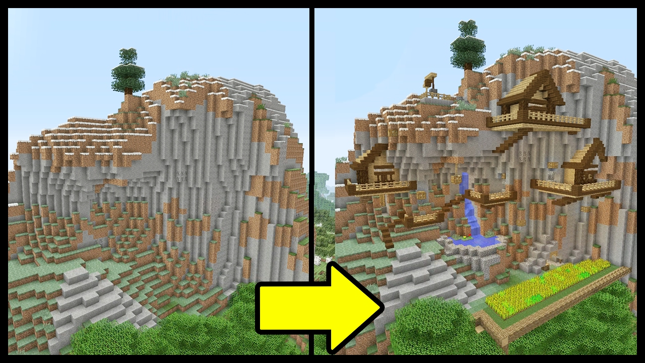 Minecraft tutorial how to make a mountain town youtube for How to build a house in a mountain