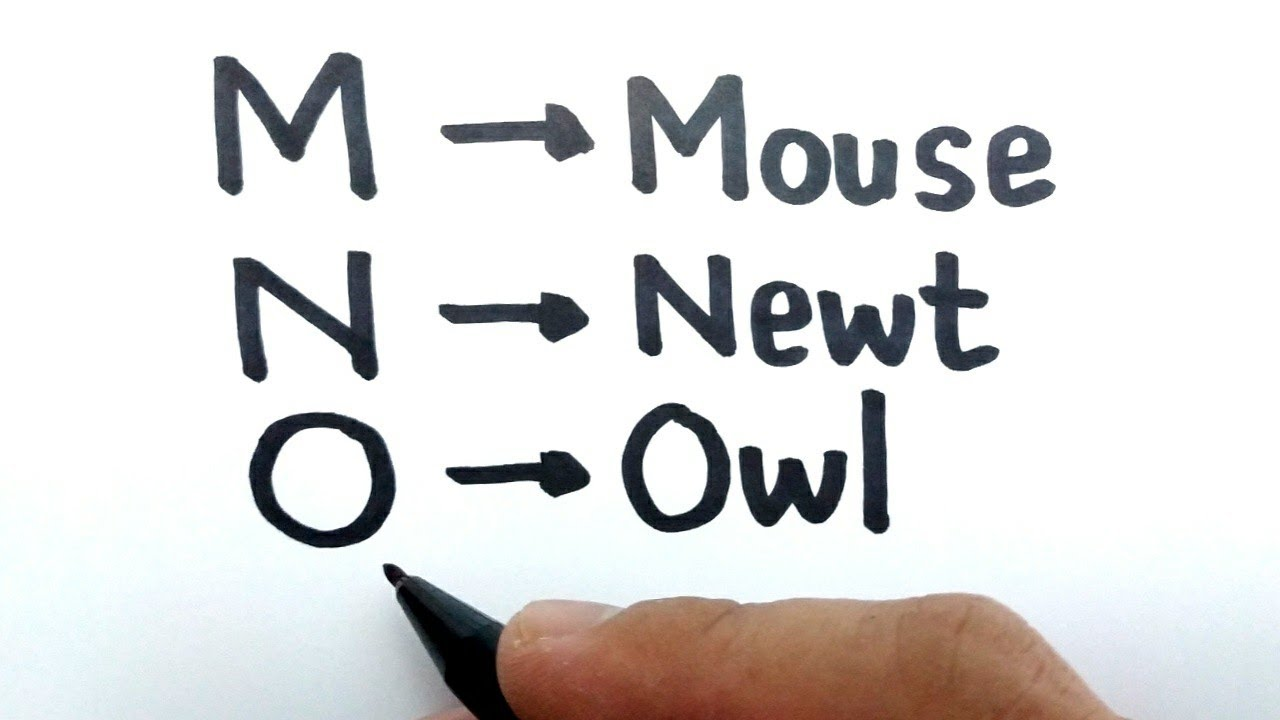 VERY EASY, How to turn letter M N O into cartoon animals