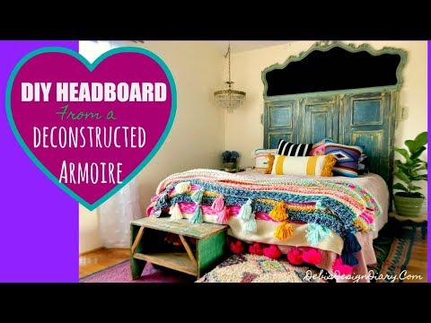 DIY Headboard from a deconstructed Armoire and how to paint velvet upholstery