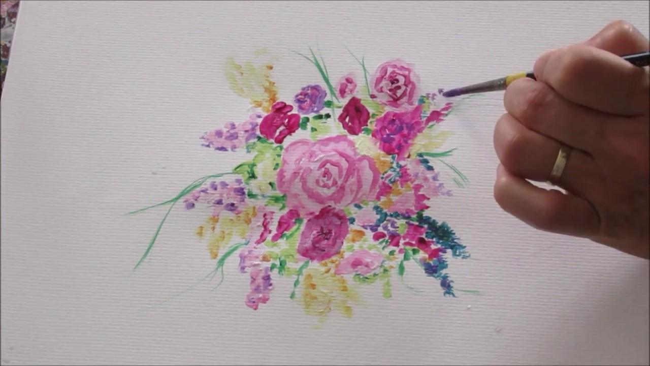 Speed Painting Peinture Abstraite 3 Bouquets De Fleurs