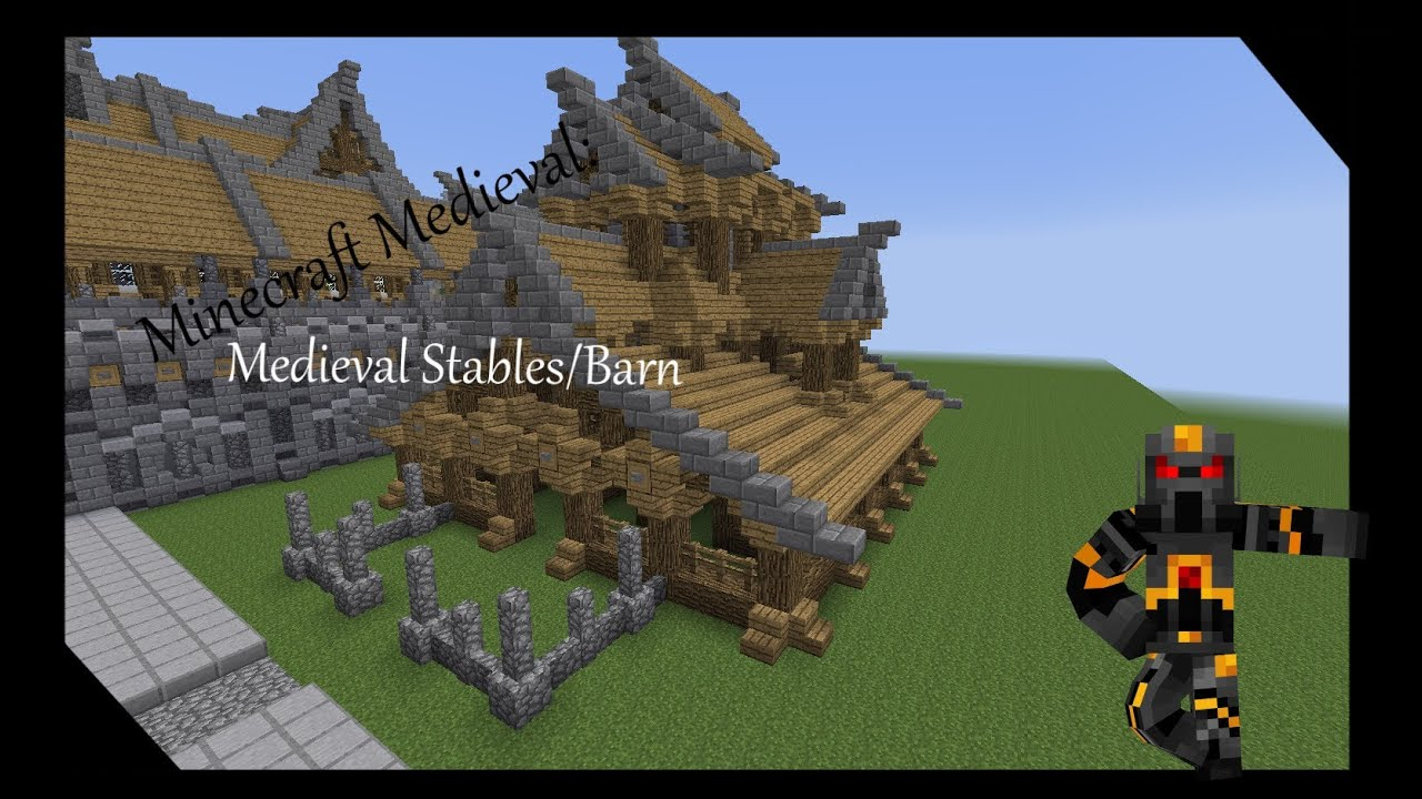 Minecraft Medieval Stables Barn Tutorial How To Build A