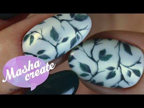Модный маникюр весна 2017. Цветочный маникюр гель лаком. Дизайн ногтей Весенние листья