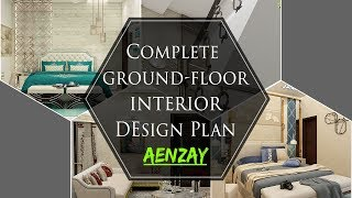 Complete Ground Floor Interior Design Plan | Master Bed And Drawing Room | Lobby | Kitchen & Lounge