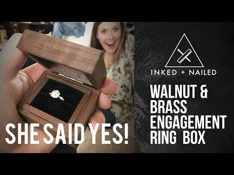 Inked & Nailed- Walnut and Brass Engagement Ring Box