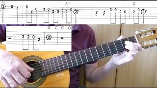 Guitar lesson - Don't Worry, Be Happy - Bobby McFerrin - Easy Guitar melody tutorial + TAB