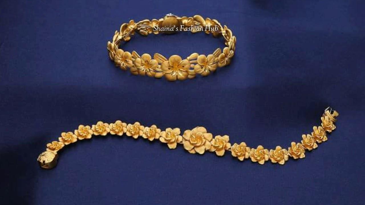 Saudi 22k Gold Bracelets Designs With Light Weight