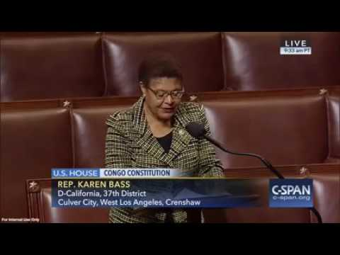 Rep. Karen Bass Addresses Congress Regarding Respect for the Constitution of the DRC
