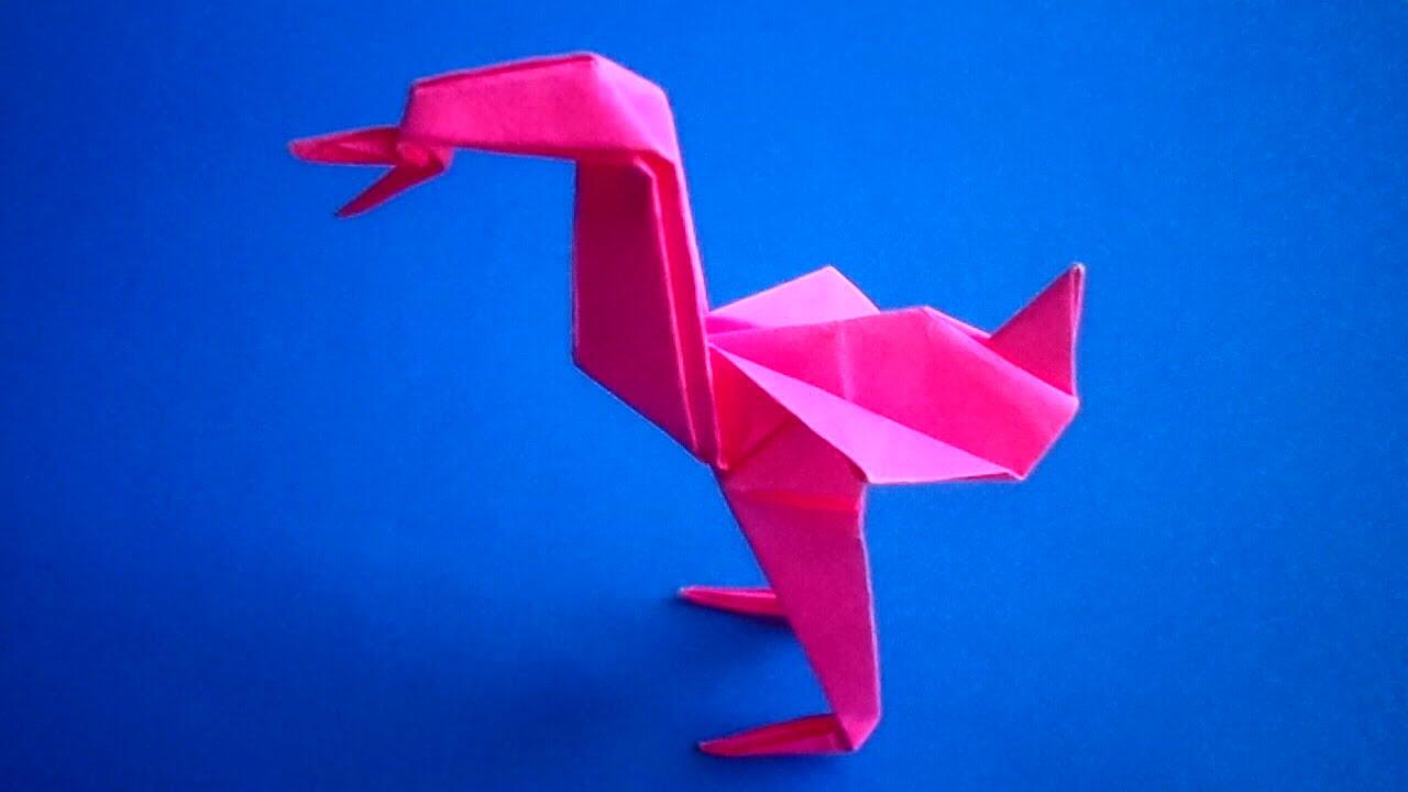 оригами птица фламинго,как сделать из бумаги птицу ...