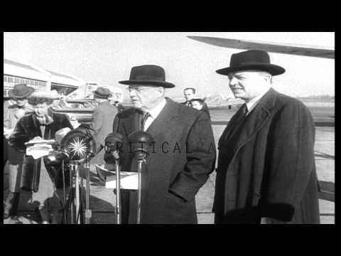 Secretary of State John Foster Dulles and MSA Chief Harold E Stassen after a flyi...HD Stock Footage