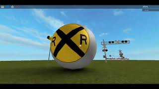 ROBLOX Studio - Railroad Crossing With Round RXR Sign And Flashing RXR Sign