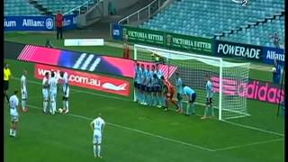 WTF! Perth Glory put all 11 men on the line for Syndey 6 yard indirect free kick to stop Gallas shot