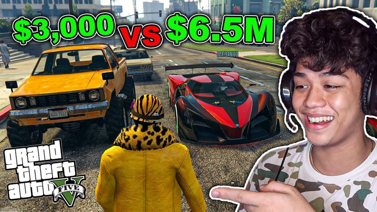 Cheapest Car Vs. EXPENSIVE Car sa GTA 5 ONLINE!! ($3,000 vs $6.5M)