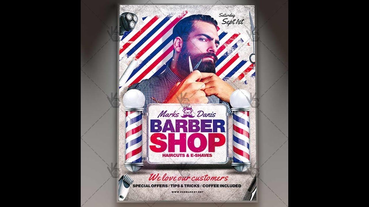 Barber Shop Premium Flyer Psd Template Youtube