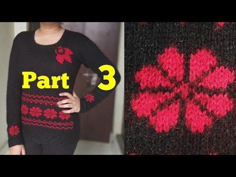 Easy Graph Flower For Girls Sweater Part 3 22 New Knitting