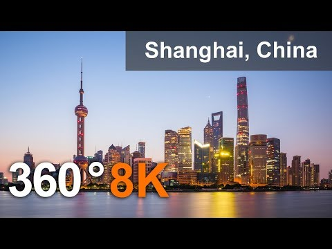 360 video, Shanghai, China. The most populous city in the world. 8K aerial video