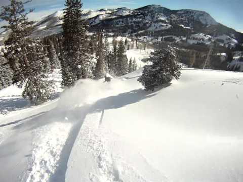 Sunny Blue Bird Powder Day Skiing Brighton Ski Area In Utah POV