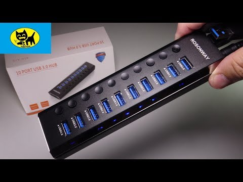 Powered USB Hub 3.0, ROSONWAY Aluminum 10 Port USB 3.0 Data Hub with Individual On/Off Switches