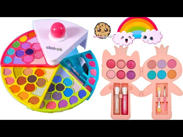 Cutest Beauty Makeup Ever Rainbow Claires Kids Eyeshadow Palette Lipgloss Haul Videos For Kids